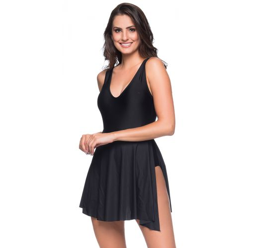 Black one-piece swimsuit floral with a tied skirt - PAREO PRETO