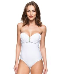 White pleated padded bustier one-piece swimsuit - PEROLA DO LITORAL