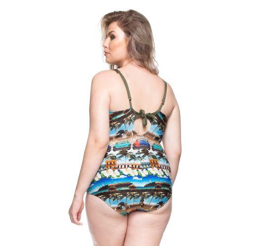 Plus-size hard padded one-piece swimsuit - Cuba print - PRAIA DE BOA VIAGEM