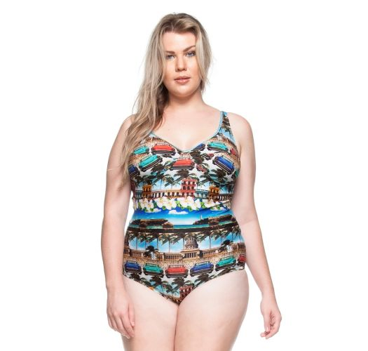 Plus-size underwired one-piece swimsuit - Cuba print - PRAIA DO CARMO