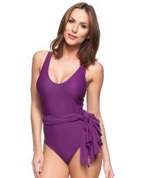 Purple tie-waisted one-piece swimsuit - SALSA