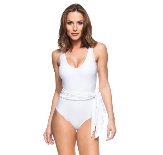 6be55ec4a6 White 1 Piece Swimsuit With Pareo Skirt - Tigre Branco - La Playa
