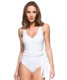 White 1 piece swimsuit with pareo skirt - TIGRE BRANCO