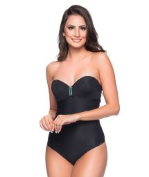 One piece bandeau swimsuit with green stones - TQC PRETO