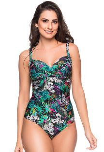 Floral one-piece swimsuit with a sweetheart neckline - TRANSPASSADO ATALAIA