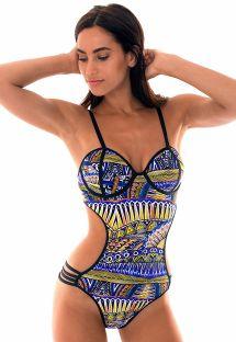 Trikini med bh-metalbøjler, blåt etnisk mønster og pynteremme - TRIBAL AZUL VIES