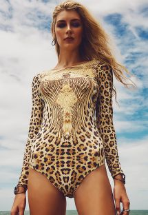 Long sleeve animal print playsuit, open back - AGUA DE SAO PEDRO