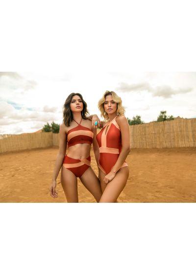 Maillot 1 pièce encolure haute rouge/rose nude - BODY BIRKIN