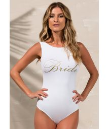 White one-piece swimsuit with golden letters BRIDE - BODY BRIDE