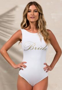 BRIDE文字入りの白いワンピース水着 - BODY BRIDE