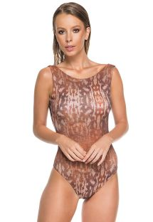 Brown animal print Brazilian one-piece swimsuit - BODY BRIGITTY CAMEL