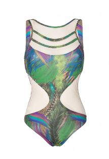 One piece bathing suit with transparent inserts - BODY DEUSA
