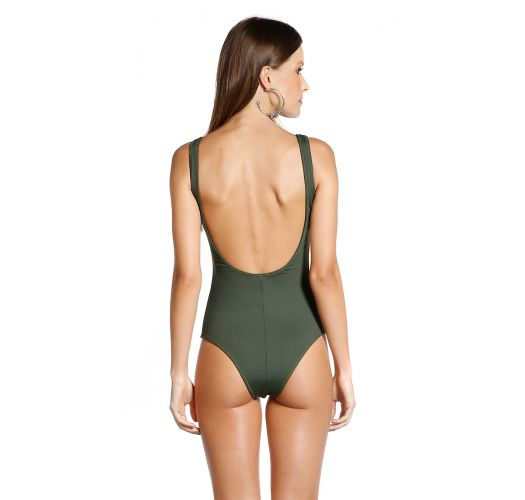 One-piece swimsuit with foliage print and khaki back - BODY FOLHAGENS