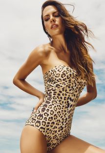 One-Piece animal print bustier swimsuit - GERIBA