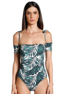 One-piece swimsuit with sleeves and foliage print - SAFARI FOLHAGENS