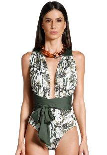 Plunging one-piece swimsuit with khaki leaves print - STRIPS SELVA