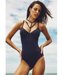 Black multi-strap one-piece swimsuit - TUCUPI