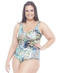Blue printed plus size one-piece swimsuit - CARPA