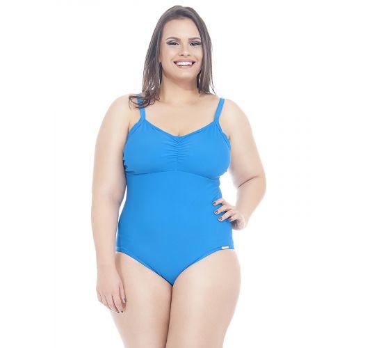 プラスサイズ用ブルーの無地ワンピース水着 - CIBELE