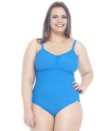 Plus size one-piece swimsuit in solid blue - CIBELE