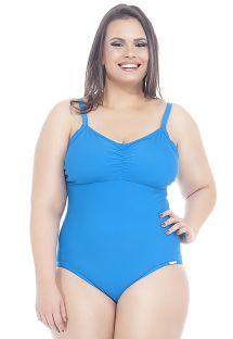 Hel badedrakt, ensfarget blå, store størrelser - CIBELE