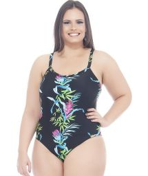 Black/floral print plus size one-piece swimsuit - FRESIA