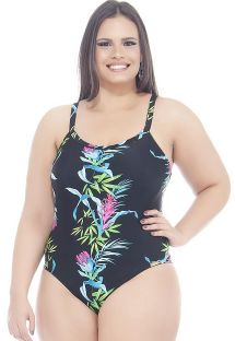 Black/floral print plus size one-piece swimsuit - FRESIA