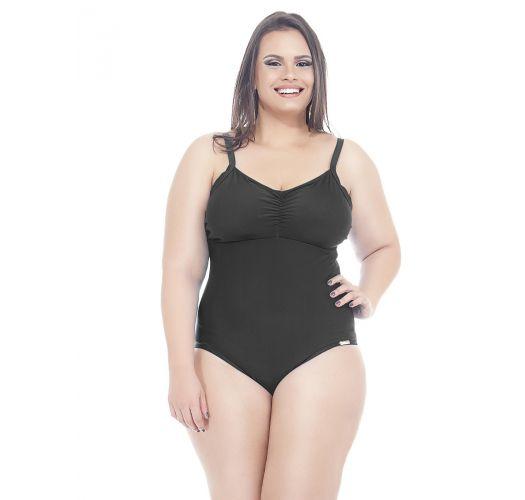 Einfarbig schwarzer Badeanzug in Übergröße  - IRACEMA