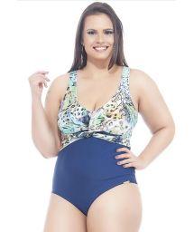 Blue/floral print plus size one-piece swimsuit - LUZ AZUL