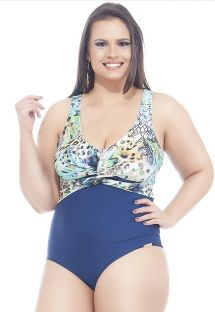 Blue/floral print plus size one-piece swimsuit - LUZ AZUL