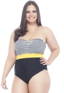 Plus size one-piece swimsuit with striped bandeau style upper - MAIO 3 CORES