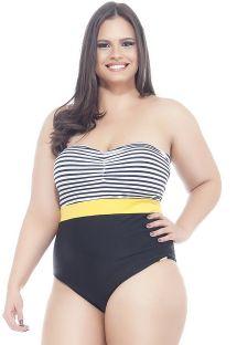 Hel badedrakt, stripet bandeau, store størrelser - MAIO 3 CORES