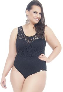 Black plus size one-piece swimsuit with lace detail - MAIO LAISE
