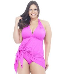 Pink skirted one-piece swimsuit with plunging neckline - MAIO SAIDA PINK