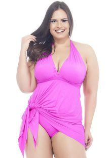 Costume intero per taglie curvy, rosa con scollatura profonda - MAIO SAIDA PINK