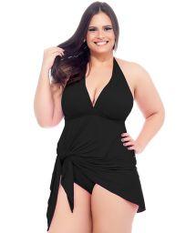 Black skirted one-piece swimsuit with plunging neckline - MAIO SAIDA PRETO