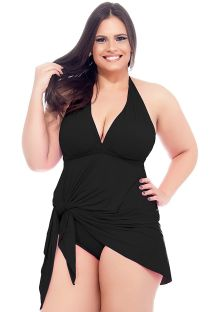 Black skirted one-piece swimsuit with plunging neckline - MAIO SAIDA PRETO