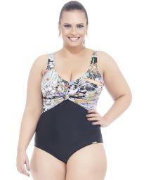 Black/floral print plus size one-piece swimsuit - PLUMERIA