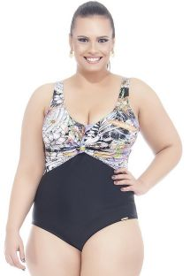 Black/floral print plus size one-piece swimsuit - PLUMERIA