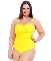 Yellow plus size one-piece bustier swimsuit - TULIPA AMARELA