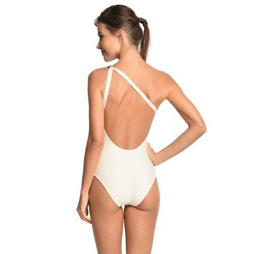 Ecru asymmetrical one-piece swimsuit with leather detail - AGUIA BRANCA