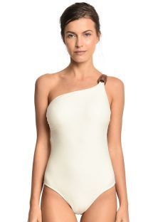 Ecru asymmetrical one-piece swimsuit with leather detail - AGUIA BRANCA