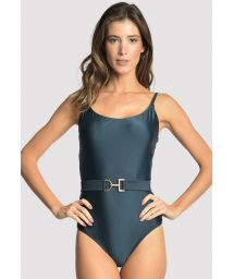 Luxurious dark blue swimsuit with a belt - ARMY BELT BLUE STAR