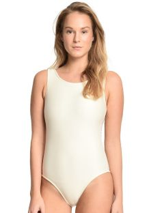 Ecru one-piece swimsuit with interlaced back straps - ASAS DE ARCANJO