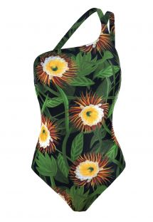 One shoulder one-piece swimsuit, green with flowers - ASYMMETRICAL MAILLOT NIGHT FLOWER