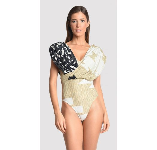 Draped runway swimsuit with a beige print - ASYMMETRIC RUCHED STRAW