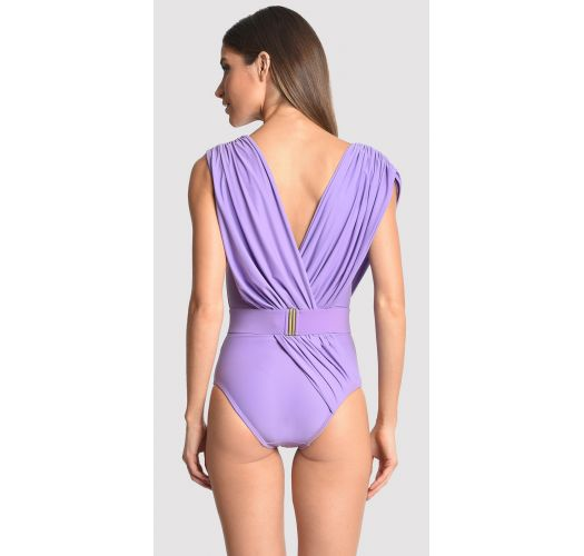 Draped and waisted light purple swimsuit - runway model - ATHENA QUARTZ