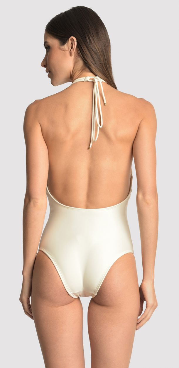 Gräddfärgad, lyxig hel baddräkt med macramé och pärlor - ATHLETIC OFF WHITE