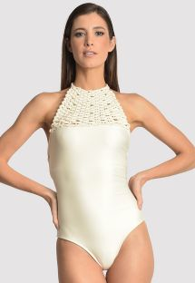 Luxurious white high-neck swimsuit with macrame and pearls - ATHLETIC OFF WHITE