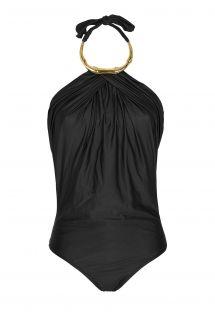 Viendaļīgais peldkostīms ar drapējuma efektu un zelta krāsas kaklarotu - BAMBOO BLACK MAILLOT